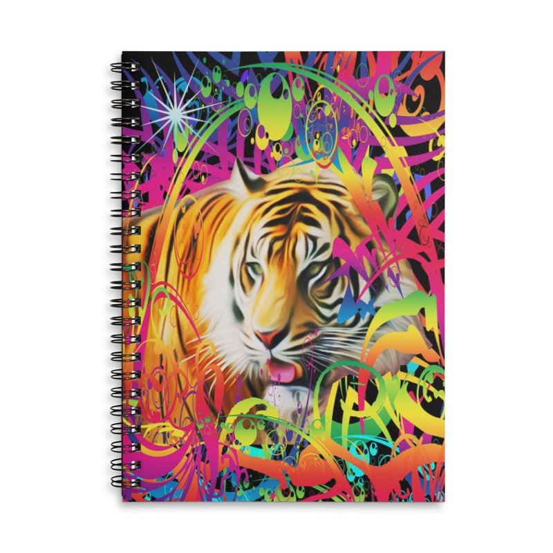 Tiger in the Jungle Accessories Lined Spiral Notebook by Matthew Lacey-icarusismartdesigns