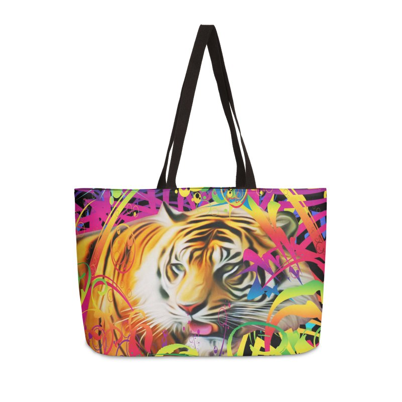 Tiger in the Jungle Accessories Weekender Bag Bag by Matthew Lacey-icarusismartdesigns