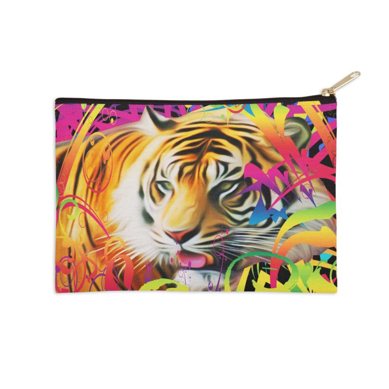 Tiger in the Jungle Accessories Zip Pouch by Matthew Lacey-icarusismartdesigns