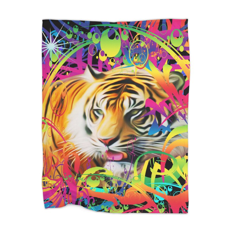 Tiger in the Jungle Home Blanket by Matthew Lacey-icarusismartdesigns
