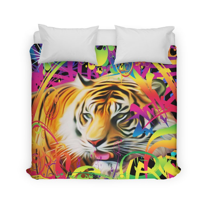 Tiger in the Jungle Home Duvet by Matthew Lacey-icarusismartdesigns