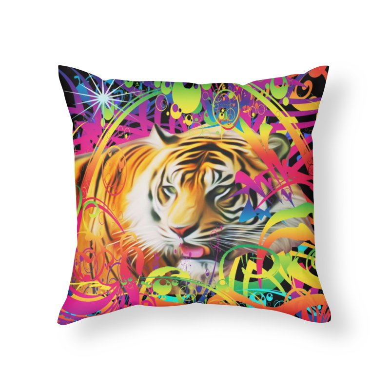 Tiger in the Jungle Home Throw Pillow by Matthew Lacey-icarusismartdesigns