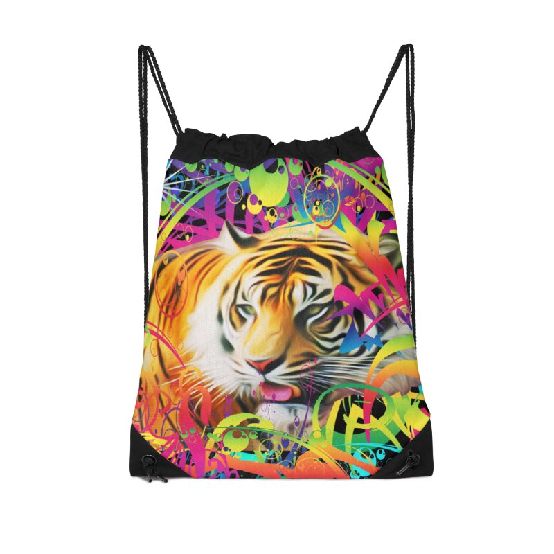 Tiger in the Jungle Accessories Drawstring Bag Bag by Matthew Lacey-icarusismartdesigns