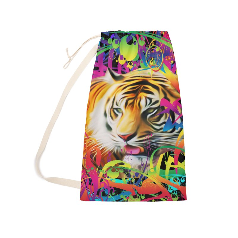 Tiger in the Jungle Accessories Laundry Bag Bag by Matthew Lacey-icarusismartdesigns