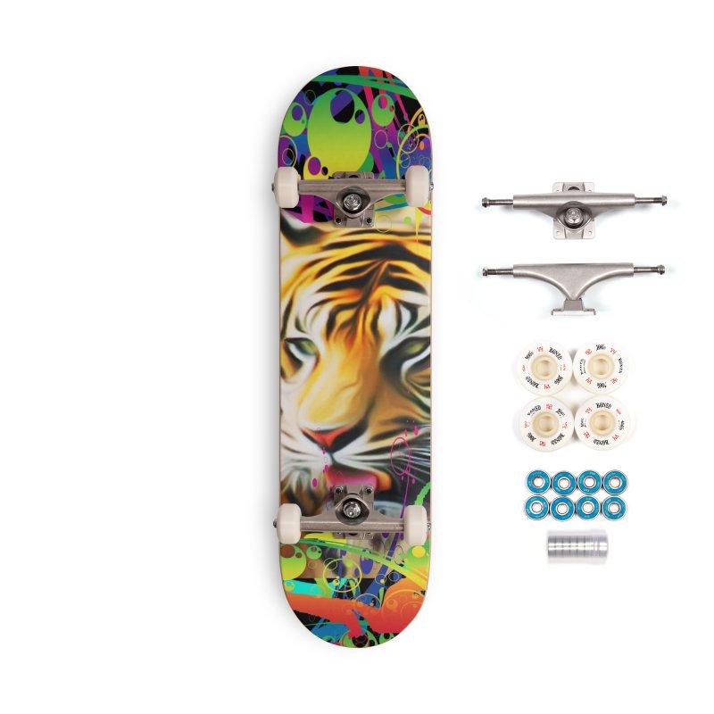 Tiger in the Jungle Accessories Complete - Premium Skateboard by Matthew Lacey-icarusismartdesigns