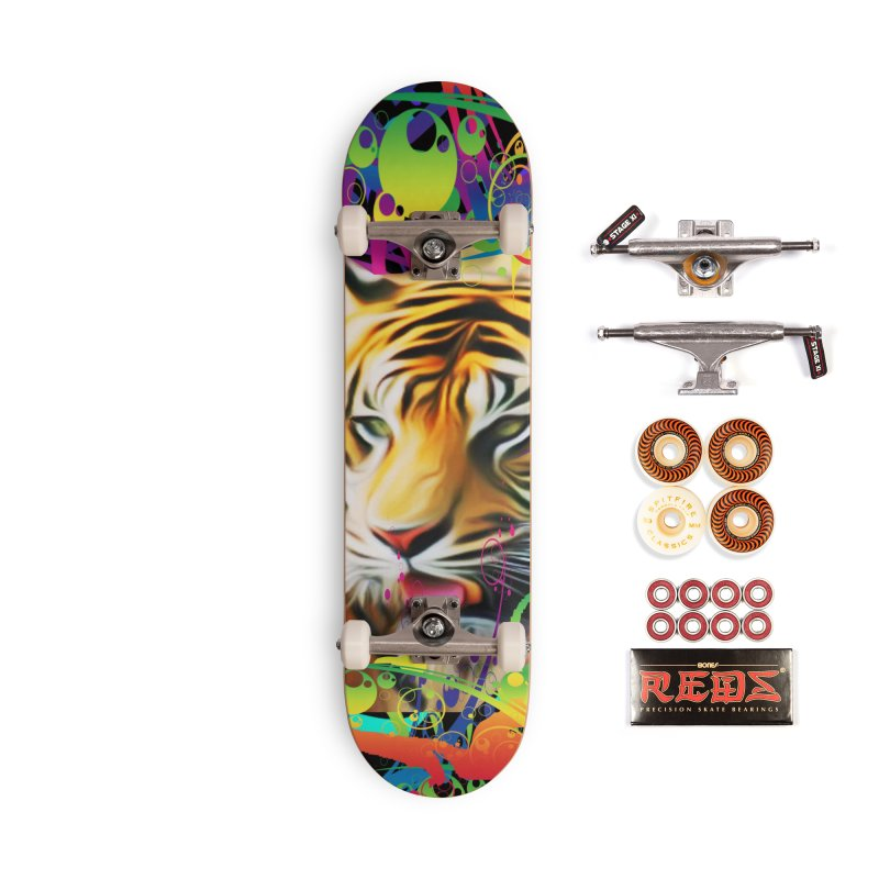 Tiger in the Jungle Accessories Skateboard by Matthew Lacey-icarusismartdesigns