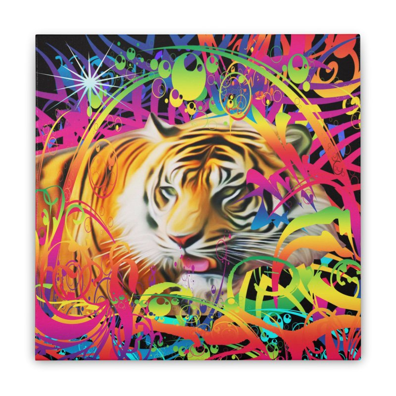 Tiger in the Jungle Home Stretched Canvas by Matthew Lacey-icarusismartdesigns
