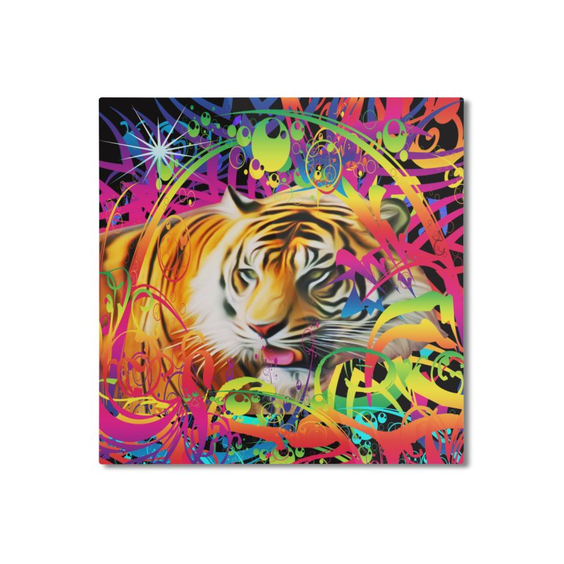 Tiger in the Jungle Home Mounted Aluminum Print by Matthew Lacey-icarusismartdesigns