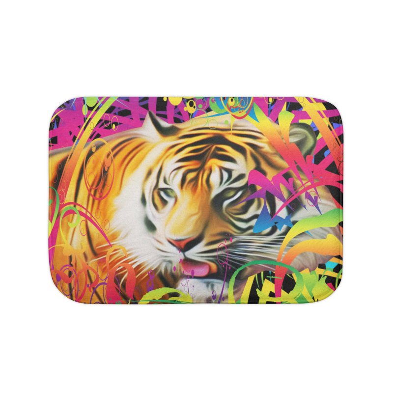 Tiger in the Jungle Home Bath Mat by Matthew Lacey-icarusismartdesigns