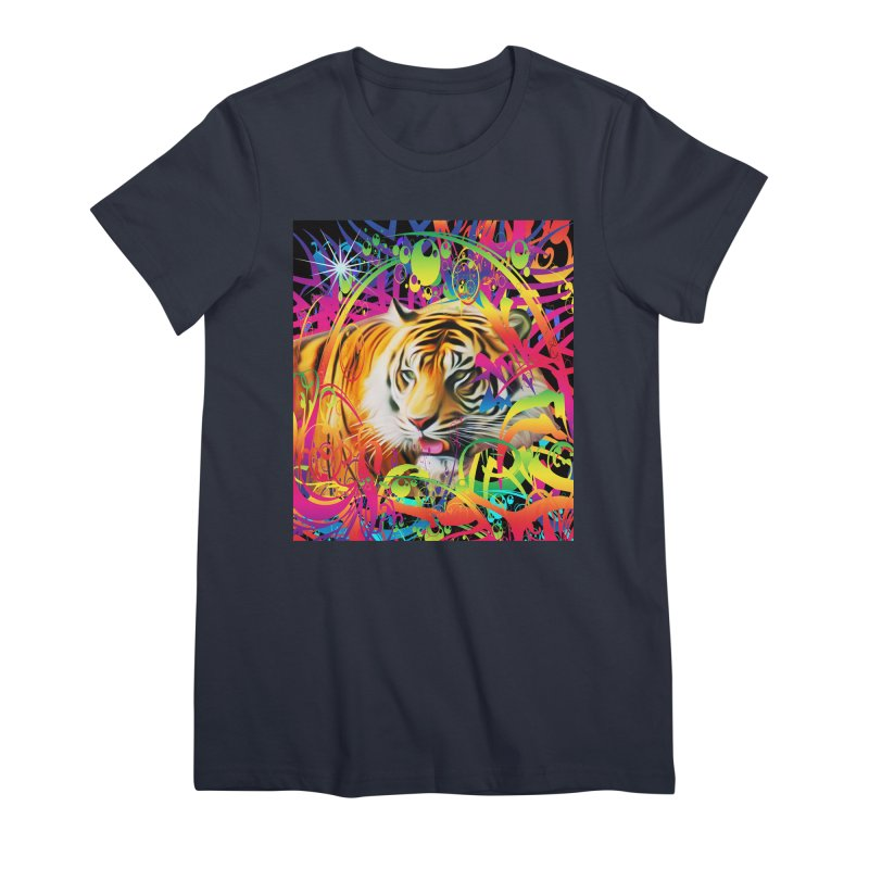 Tiger in the Jungle Women's Premium T-Shirt by Matthew Lacey-icarusismartdesigns