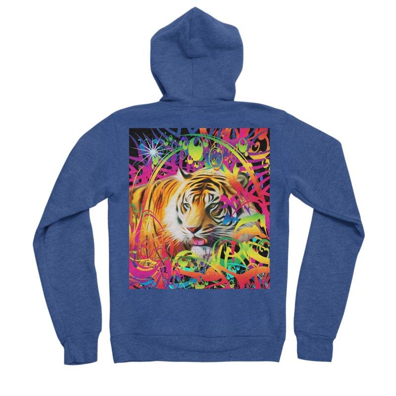 Tiger in the Jungle Men's Sponge Fleece Zip-Up Hoody by Matthew Lacey-icarusismartdesigns