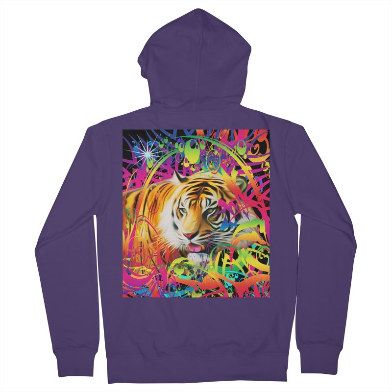 Tiger in the Jungle Women's French Terry Zip-Up Hoody by Matthew Lacey-icarusismartdesigns