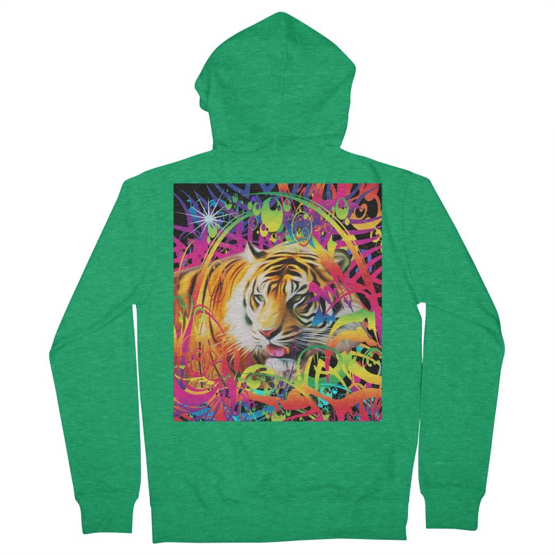 Tiger in the Jungle Men's Zip-Up Hoody by Matthew Lacey-icarusismartdesigns