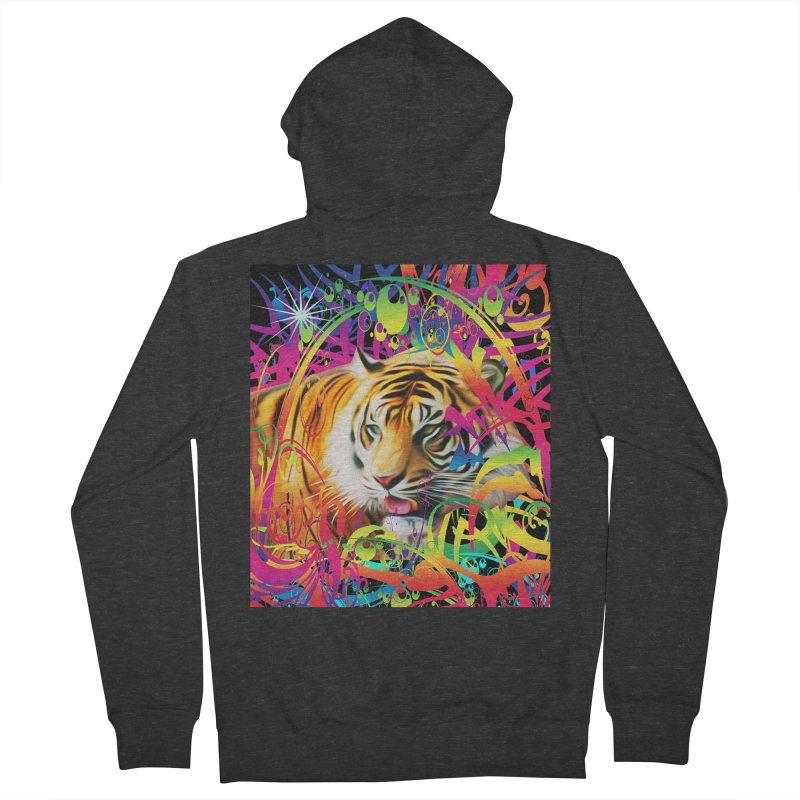 Tiger in the Jungle Men's French Terry Zip-Up Hoody by Matthew Lacey-icarusismartdesigns