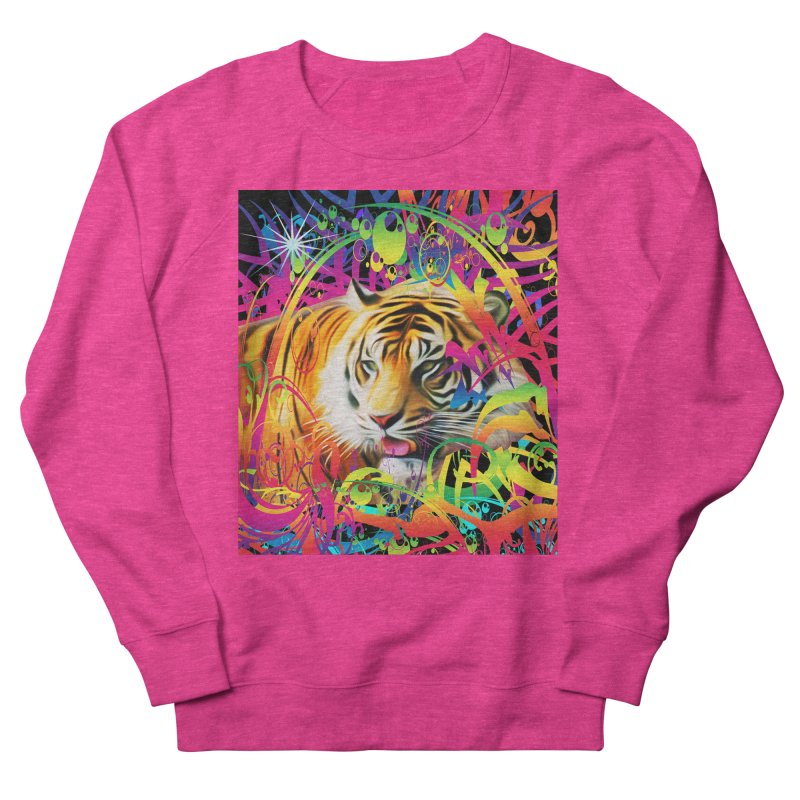 Tiger in the Jungle Women's French Terry Sweatshirt by Matthew Lacey-icarusismartdesigns