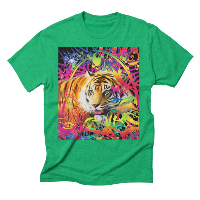 Tiger in the Jungle Men's Triblend T-Shirt by Matthew Lacey-icarusismartdesigns