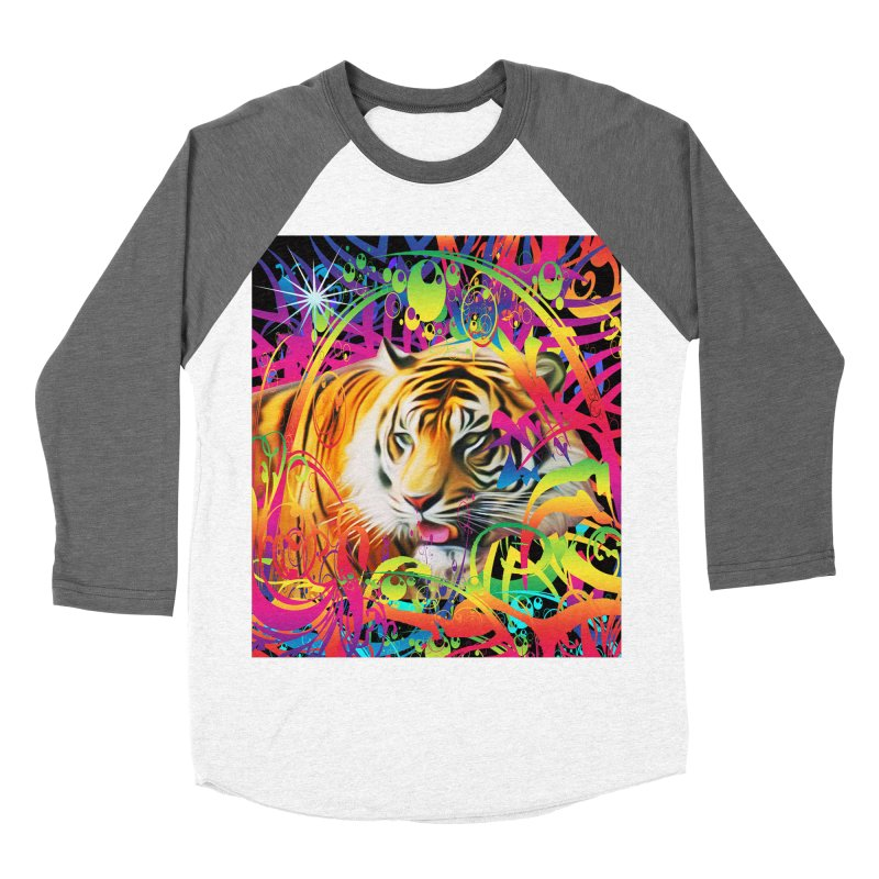 Tiger in the Jungle Women's Baseball Triblend Longsleeve T-Shirt by Matthew Lacey-icarusismartdesigns