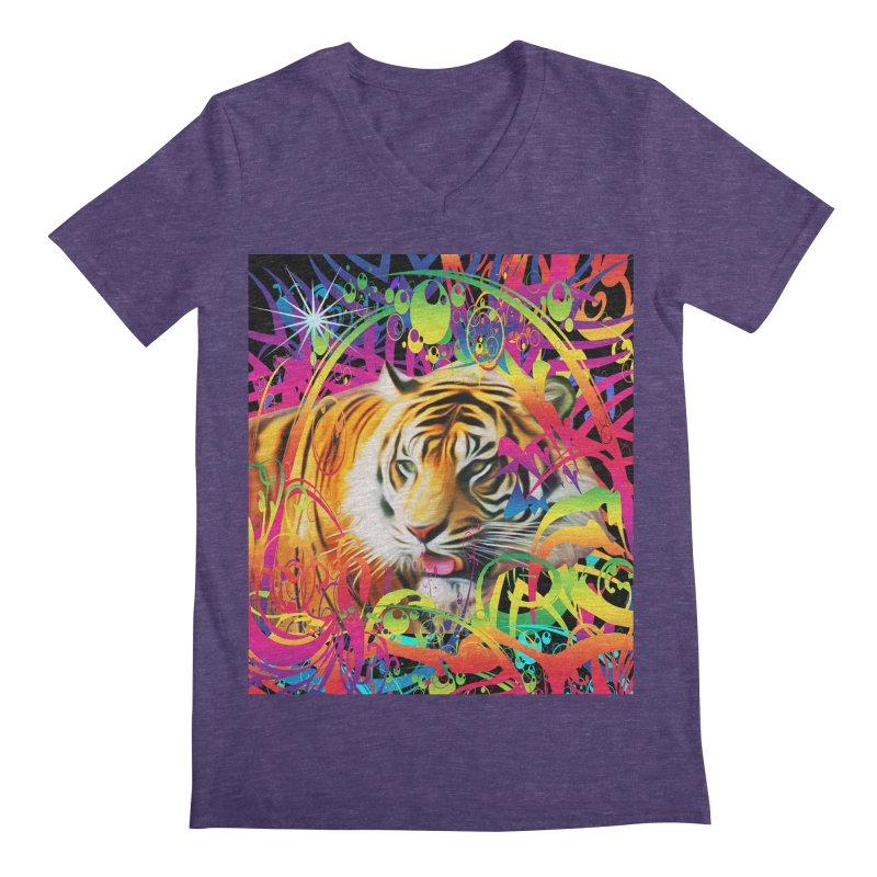 Tiger in the Jungle Men's Regular V-Neck by Matthew Lacey-icarusismartdesigns