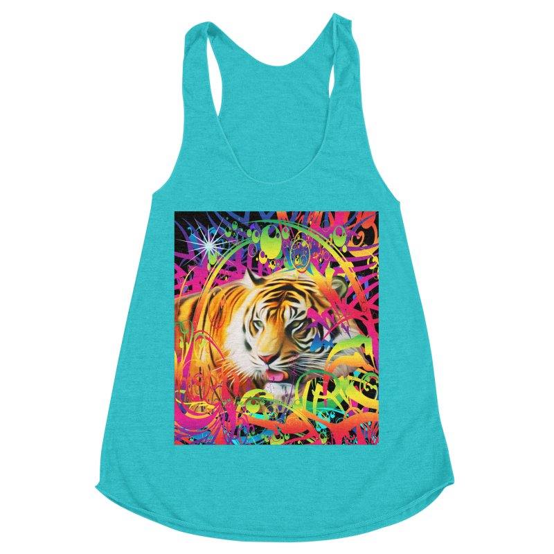 Tiger in the Jungle Women's Racerback Triblend Tank by Matthew Lacey-icarusismartdesigns