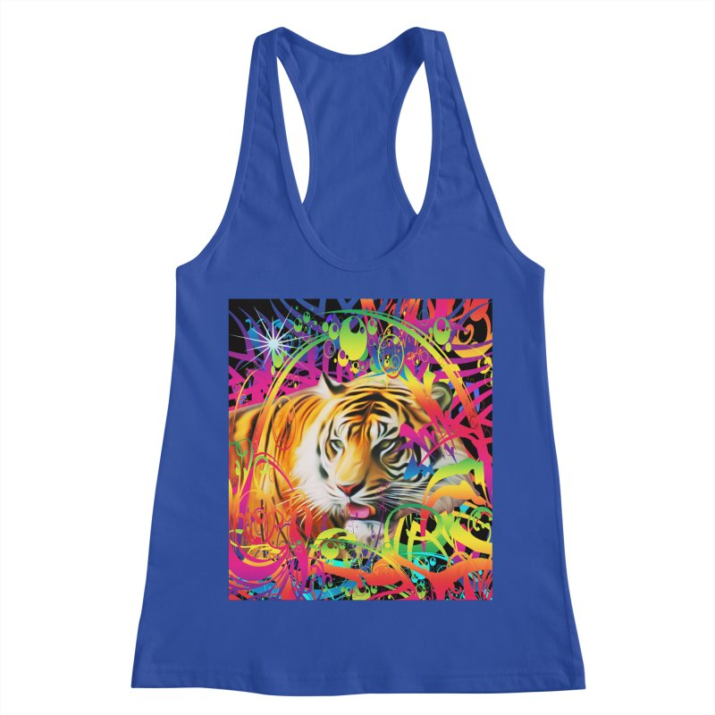 Tiger in the Jungle Women's Racerback Tank by Matthew Lacey-icarusismartdesigns