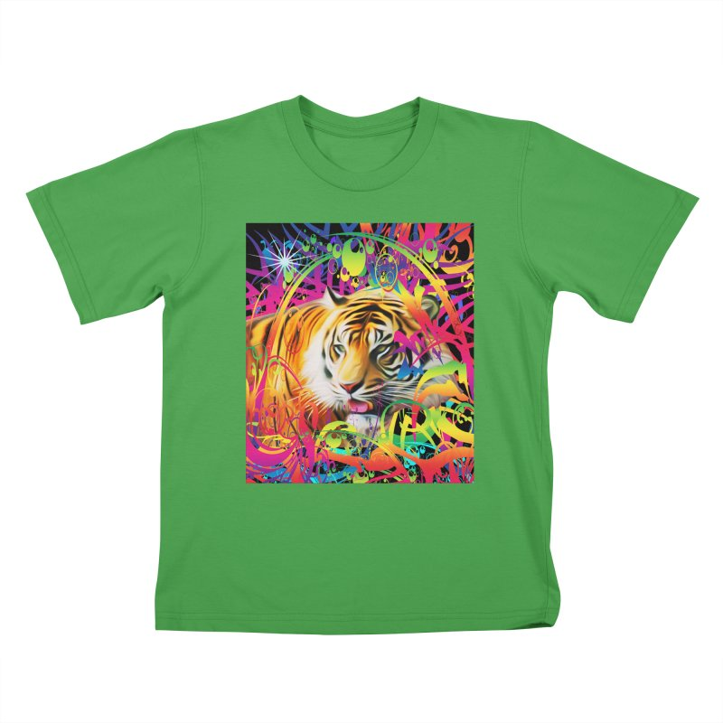 Tiger in the Jungle Kids T-Shirt by Matthew Lacey-icarusismartdesigns