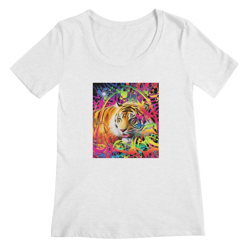 Tiger in the Jungle Women's Regular Scoop Neck by Matthew Lacey-icarusismartdesigns