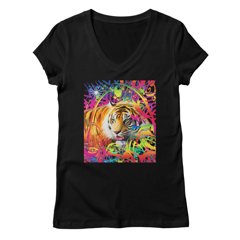 Tiger in the Jungle Women's V-Neck by Matthew Lacey-icarusismartdesigns