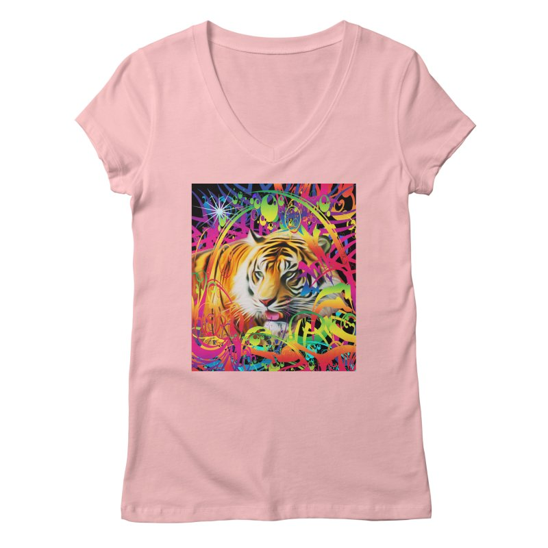 Tiger in the Jungle Women's Regular V-Neck by Matthew Lacey-icarusismartdesigns