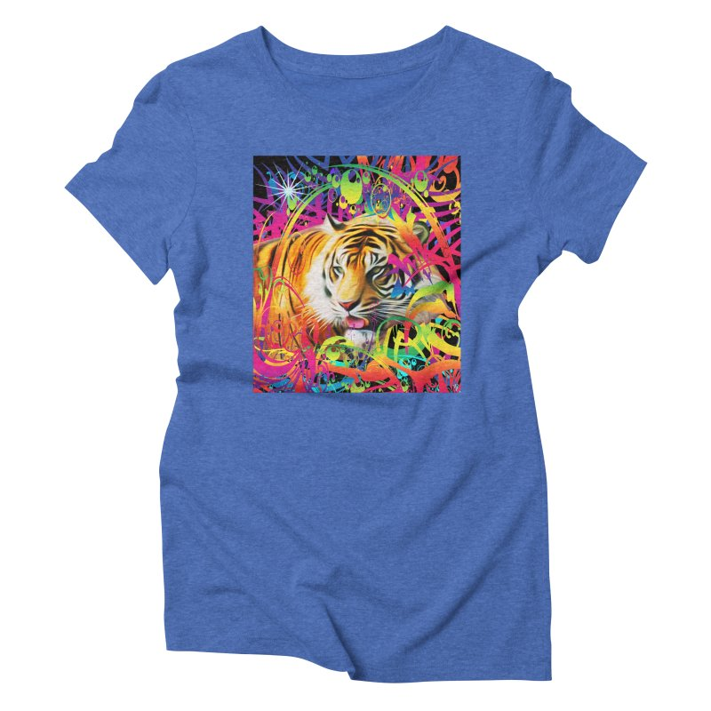 Tiger in the Jungle Women's Triblend T-Shirt by Matthew Lacey-icarusismartdesigns