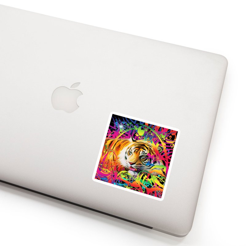 Tiger in the Jungle Accessories Sticker by Matthew Lacey-icarusismartdesigns