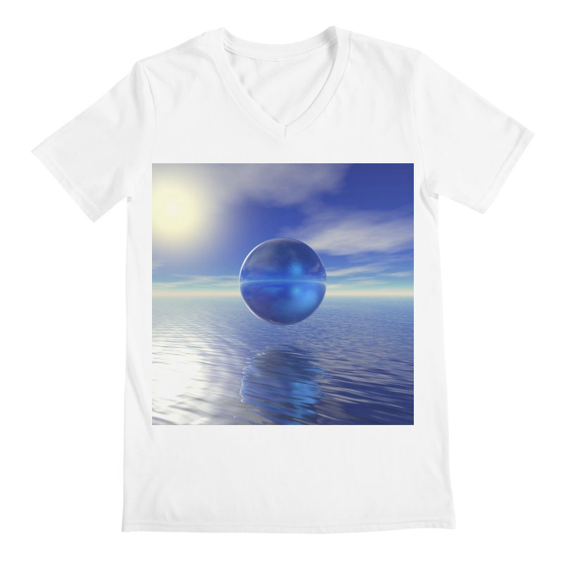 Abstract Blue Men's V-Neck by Matthew Lacey-icarusismartdesigns
