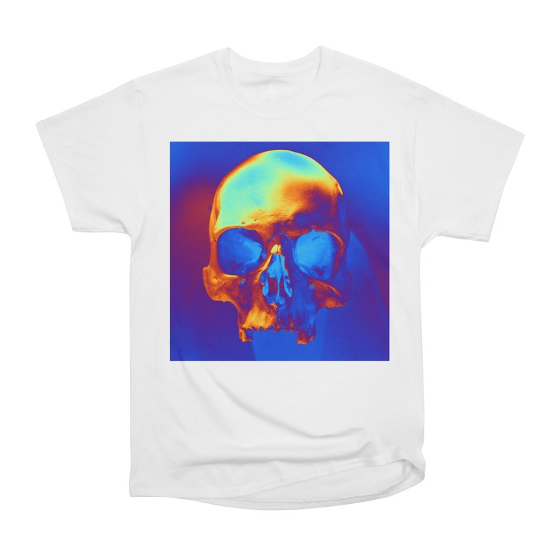 Skull in Blue and Gold Women's T-Shirt by Matthew Lacey-icarusismartdesigns