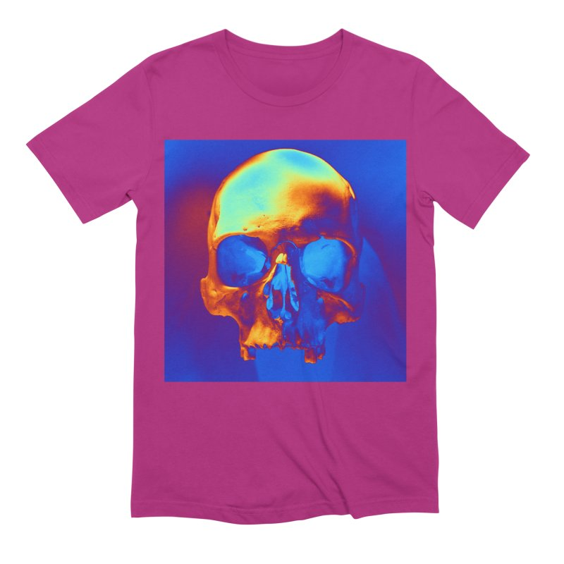 Skull in Blue and Gold Men's T-Shirt by Matthew Lacey-icarusismartdesigns