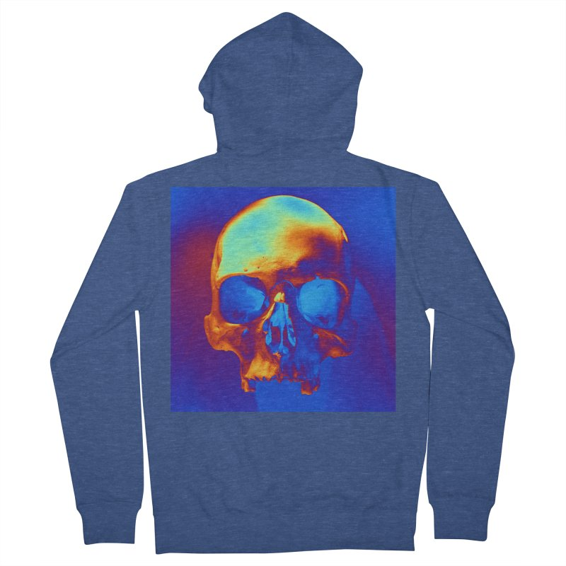 Skull in Blue and Gold Men's Zip-Up Hoody by Matthew Lacey-icarusismartdesigns