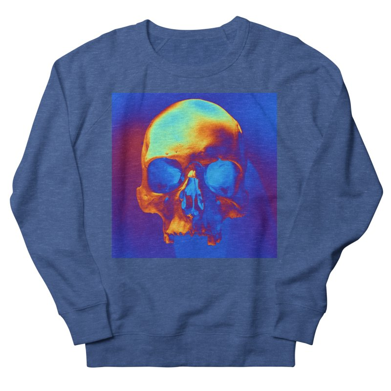Skull in Blue and Gold Women's Sweatshirt by Matthew Lacey-icarusismartdesigns