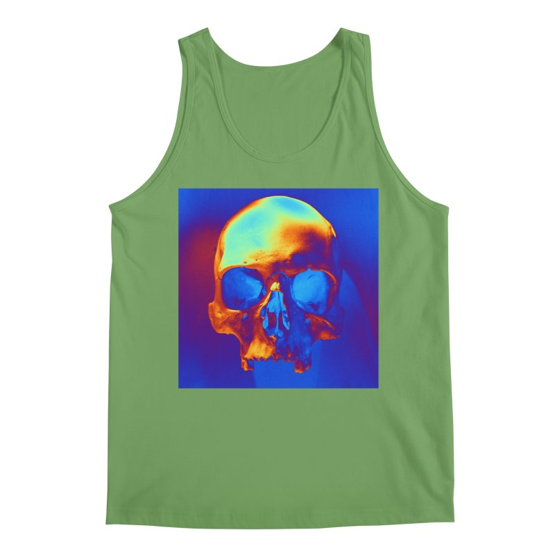 Skull in Blue and Gold Men's Tank by Matthew Lacey-icarusismartdesigns