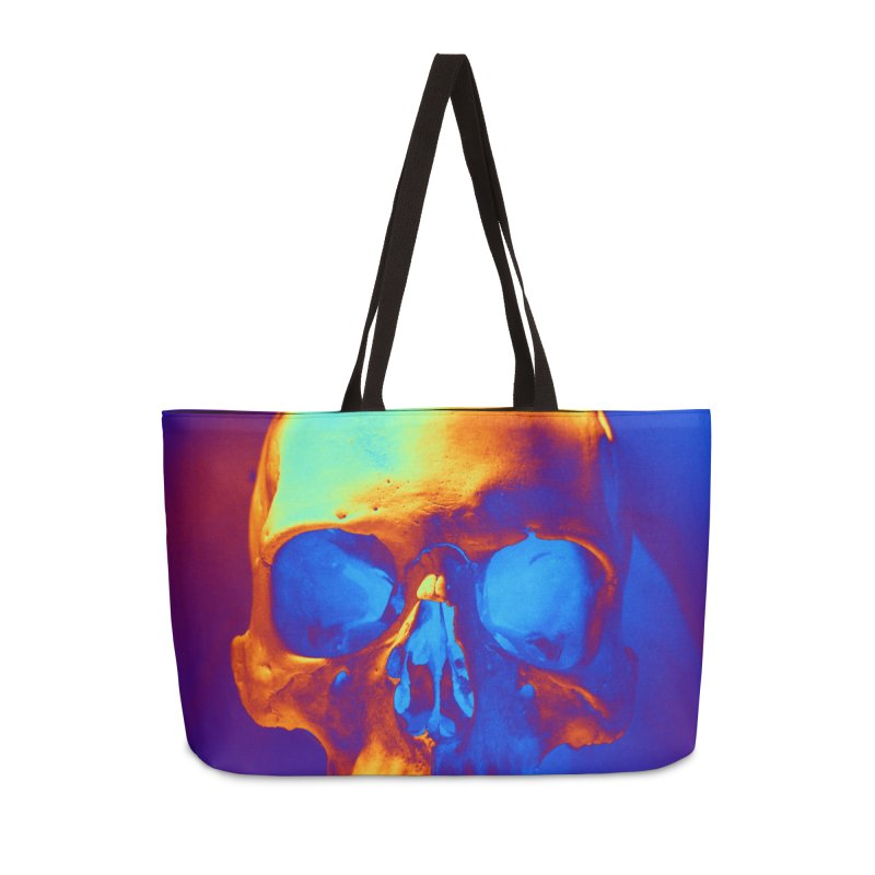Skull in Blue and Gold Accessories Bag by Matthew Lacey-icarusismartdesigns