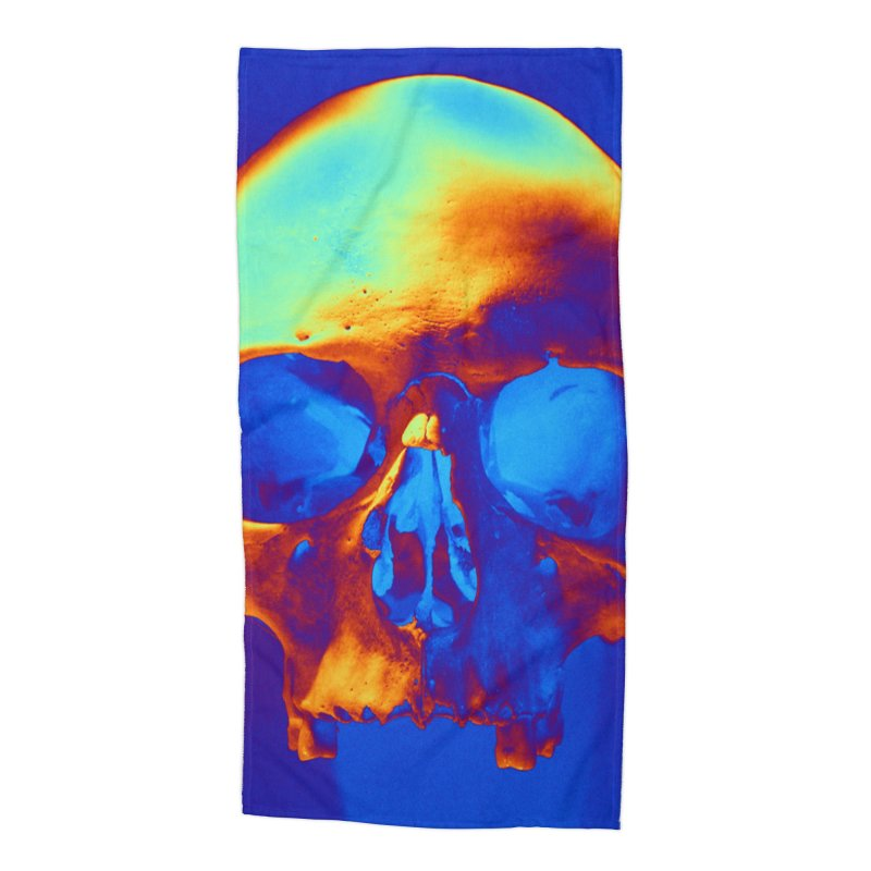 Skull in Blue and Gold Accessories Beach Towel by Matthew Lacey-icarusismartdesigns