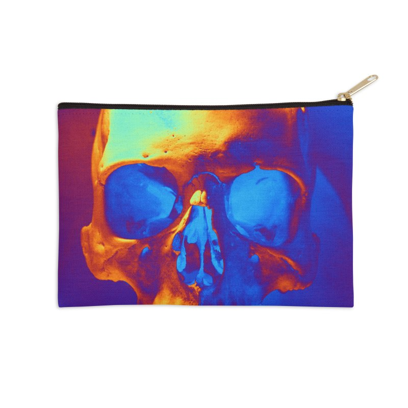 Skull in Blue and Gold Accessories Zip Pouch by Matthew Lacey-icarusismartdesigns