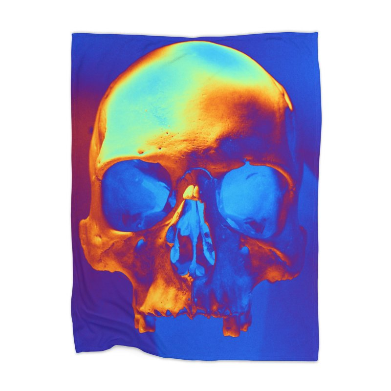 Skull in Blue and Gold Home Blanket by Matthew Lacey-icarusismartdesigns