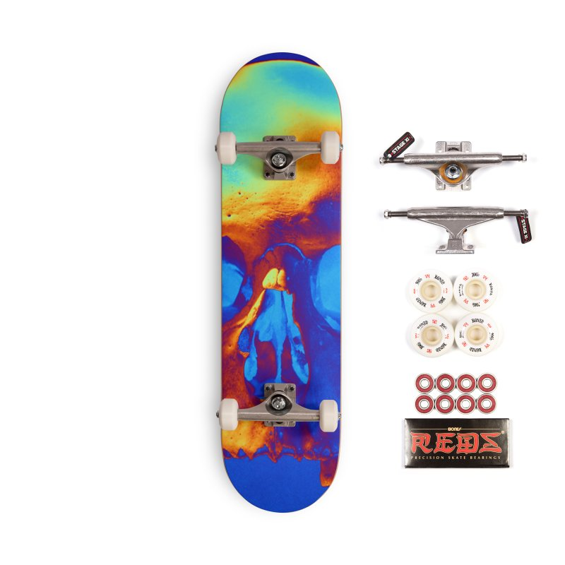 Skull in Blue and Gold Accessories Skateboard by Matthew Lacey-icarusismartdesigns