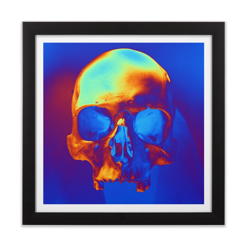 Skull in Blue and Gold Home Framed Fine Art Print by Matthew Lacey-icarusismartdesigns
