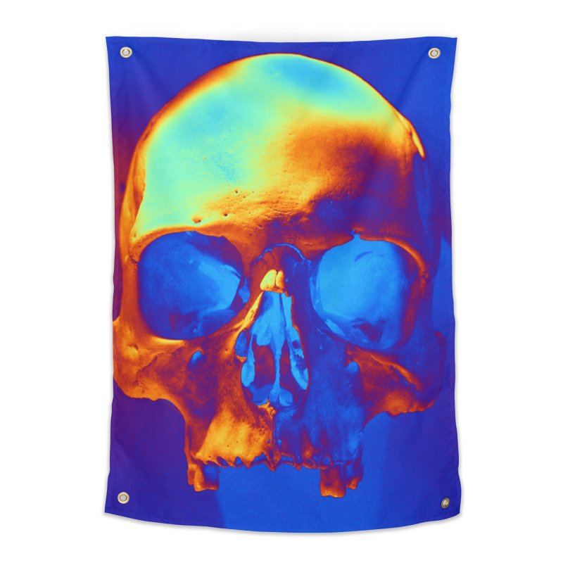 Skull in Blue and Gold Home Tapestry by Matthew Lacey-icarusismartdesigns
