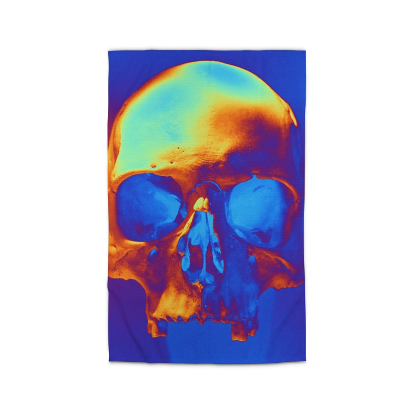 Skull in Blue and Gold Home Rug by Matthew Lacey-icarusismartdesigns