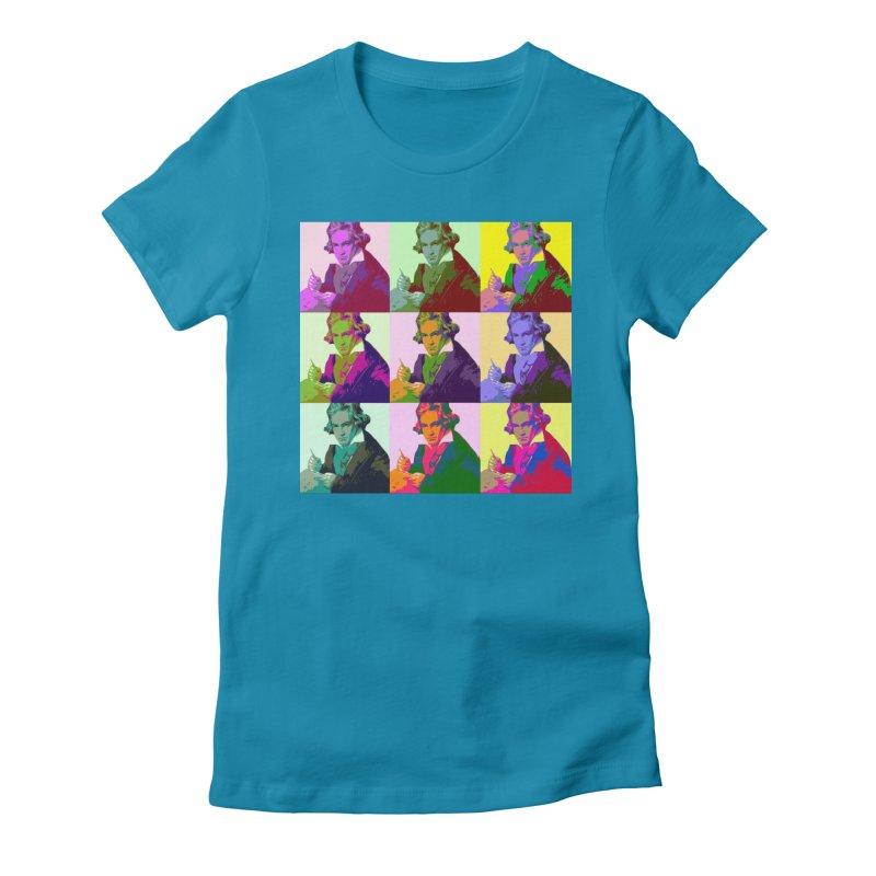 Ludwig Van Beethoven Pop Art Women's T-Shirt by Matthew Lacey-icarusismartdesigns