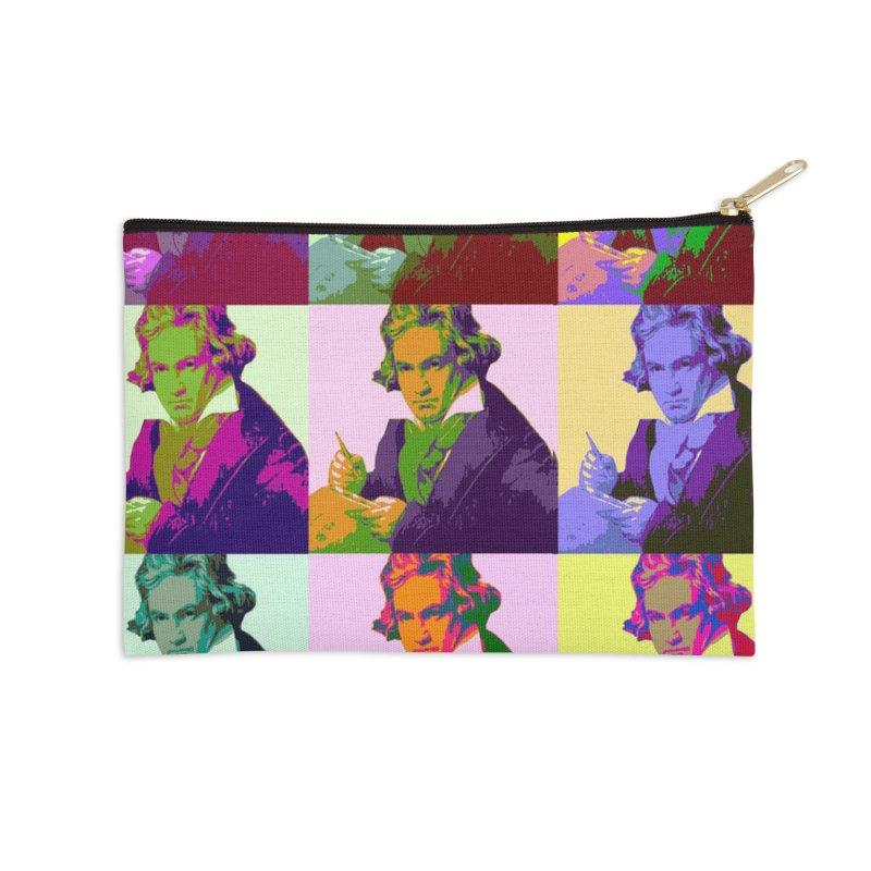 Ludwig Van Beethoven Pop Art Accessories Zip Pouch by Matthew Lacey-icarusismartdesigns