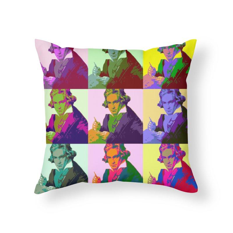 Ludwig Van Beethoven Pop Art Home Throw Pillow by Matthew Lacey-icarusismartdesigns