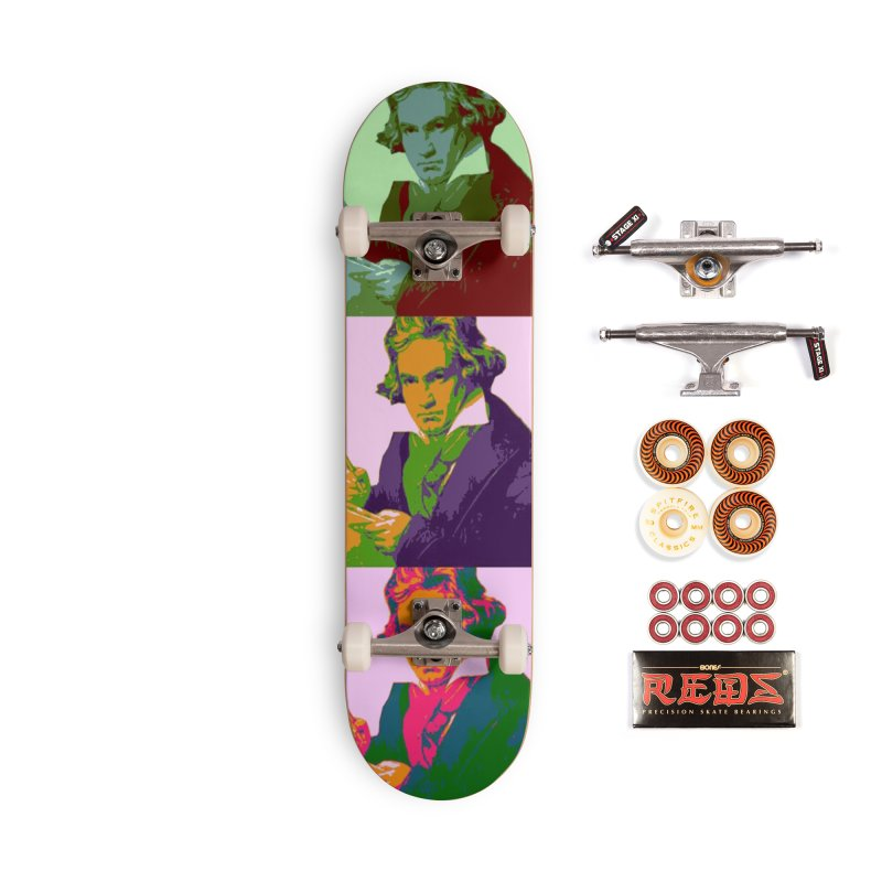 Ludwig Van Beethoven Pop Art Accessories Skateboard by Matthew Lacey-icarusismartdesigns
