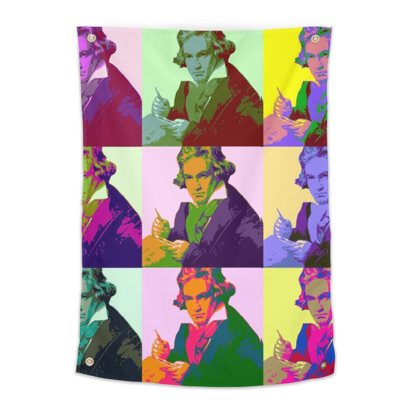 Ludwig Van Beethoven Pop Art Home Tapestry by Matthew Lacey-icarusismartdesigns