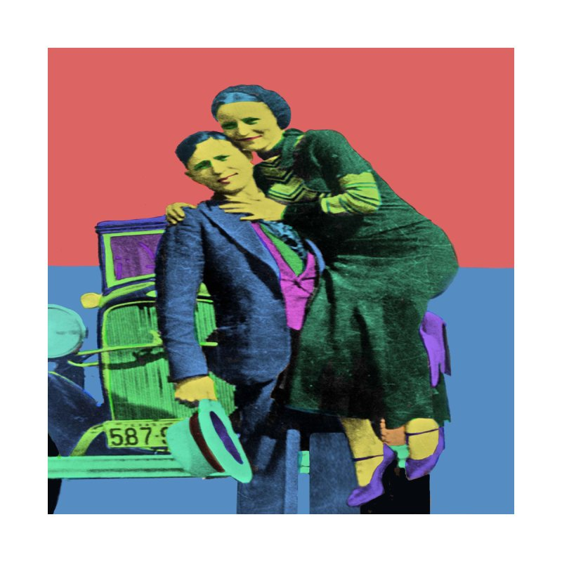 Bonnie and Clyde Pop Art Women's T-Shirt by Matthew Lacey-icarusismartdesigns